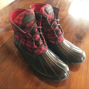 SPERRY Red Plaid Duck Boots 10M